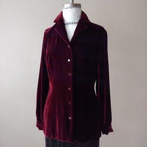 Silk Blend Velvet Button Up International Concepts